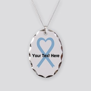 Personalized Light Blue Ribbon Necklace Oval Charm