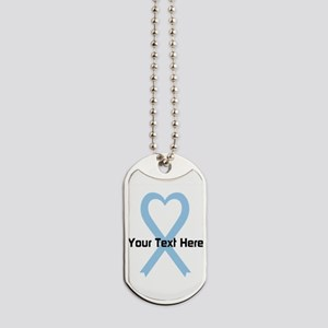 Personalized Light Blue Ribbon Heart Dog Tags