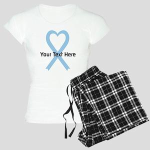 Personalized Light Blue Rib Women's Light Pajamas