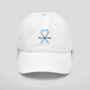 Personalized Light Blue Ribbon Heart Cap