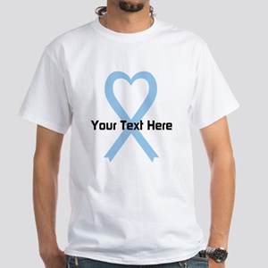 Personalized Light Blue Ribbon Heart White T-Shirt