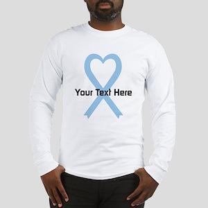 Personalized Light Blue Ribbon Long Sleeve T-Shirt