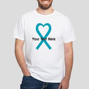 Personalized Turquoise Ribbon Heart White T-Shirt