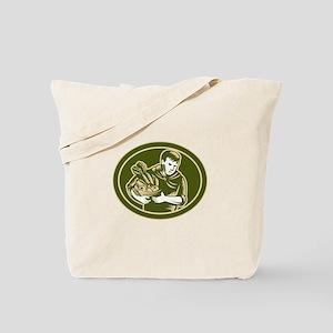Organic Farmer Crop Harvest Woodcut Tote Bag