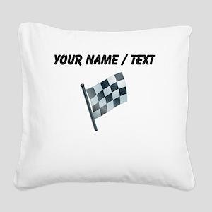 Custom Checkered Flag Square Canvas Pillow