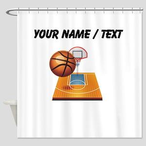 Custom Basketball Icon Shower Curtain