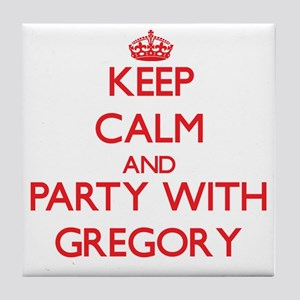 Keep calm and Party with Gregory Tile Coaster