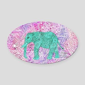 Teal Tribal Paisley Elephant Purpl Oval Car Magnet