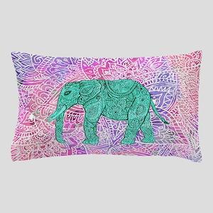 Teal Tribal Paisley Elephant Purple He Pillow Case