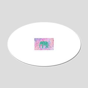 Teal Tribal Paisley Elephant 20x12 Oval Wall Decal