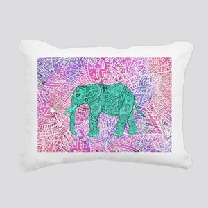 Teal Tribal Paisley Elep Rectangular Canvas Pillow