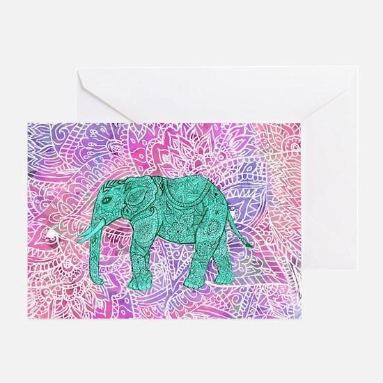 Teal Tribal Paisley Elephant Purple  Greeting Card