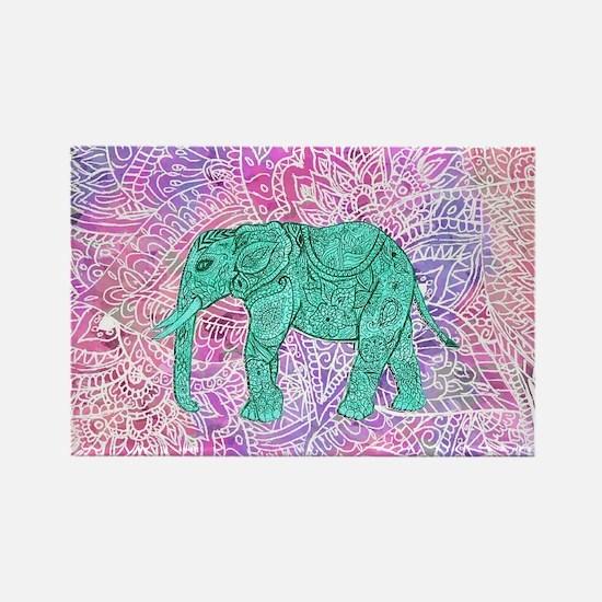 Teal Tribal Paisley Elephant Purp Rectangle Magnet