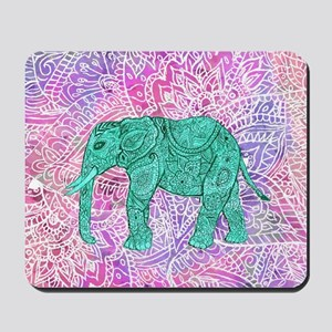Teal Tribal Paisley Elephant Purple Henn Mousepad