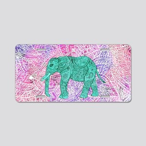 Teal Tribal Paisley Elephan Aluminum License Plate