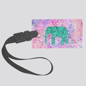 Teal Tribal Paisley Elephant Pur Large Luggage Tag