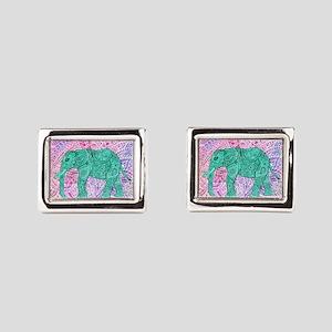 Teal Tribal Paisley Elephant Purple Henn Cufflinks