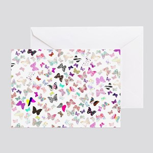 Girly Butterflies Aztec Floral Strip Greeting Card