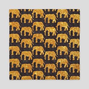 Whimsical Gold Glitter Elephants Patte Queen Duvet