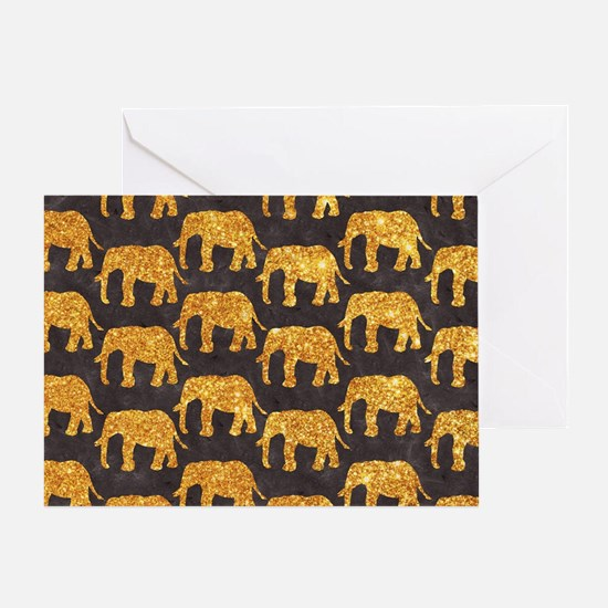 Whimsical Gold Glitter Elephants Pat Greeting Card