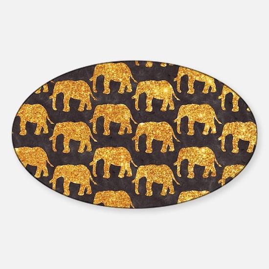 Whimsical Gold Glitter Elephants Pa Sticker (Oval)