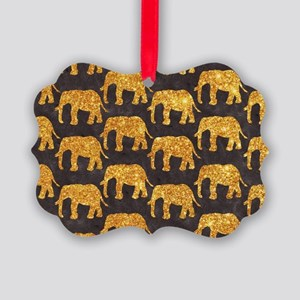 Whimsical Gold Glitter Elephants  Picture Ornament