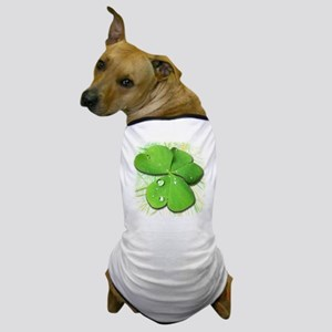 Green Shamrock with Dew Dog T-Shirt