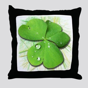 Green Shamrock with Dew Throw Pillow