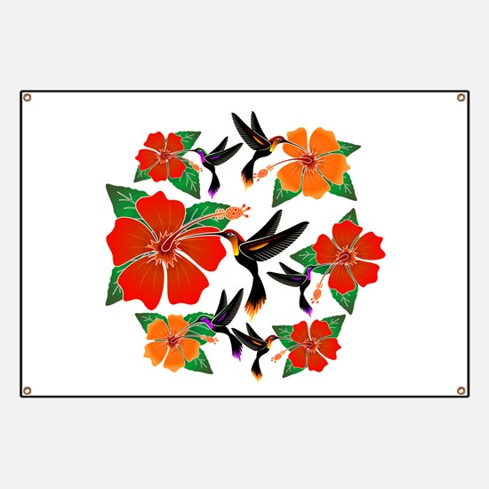 Hummingbird and Hibiscus Banner