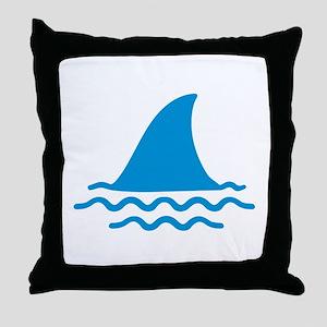 Blue shark fin Throw Pillow