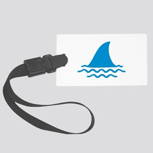 Blue shark fin Large Luggage Tag