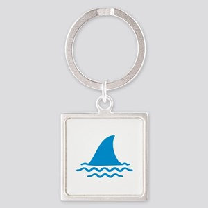 Blue shark fin Square Keychain