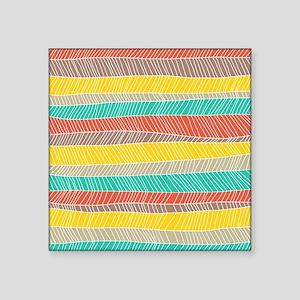 """Stripe Dash Warm Square Sticker 3"""" x 3"""""""
