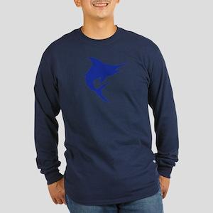 Blue Marlin Fish Long Sleeve Dark T-Shirt