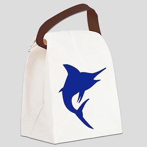 Blue Marlin Fish Canvas Lunch Bag