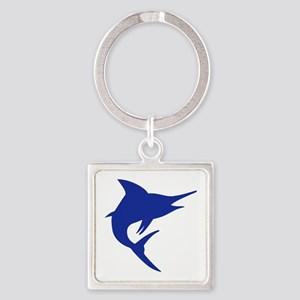 Blue Marlin Fish Square Keychain