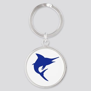Blue Marlin Fish Round Keychain