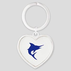Blue Marlin Fish Heart Keychain