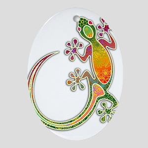 Gecko Floral Tribal Art Ornament (Oval)