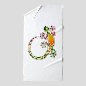 Gecko Floral Tribal Art Beach Towel