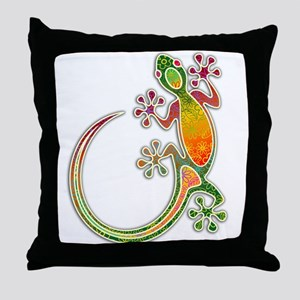 Gecko Floral Tribal Art Throw Pillow