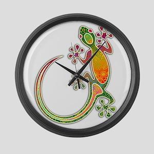 Gecko Floral Tribal Art Large Wall Clock