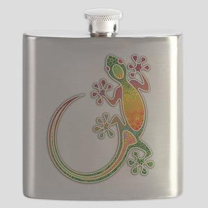 Gecko Floral Tribal Art Flask