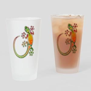 Gecko Floral Tribal Art Drinking Glass