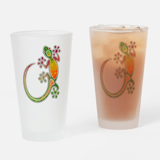 Gecko Floral Tribal Art Drinking Glass