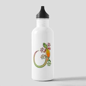 Gecko Floral Tribal Art Water Bottle
