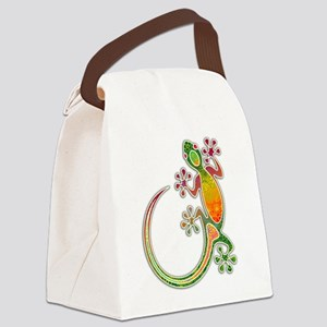 Gecko Floral Tribal Art Canvas Lunch Bag