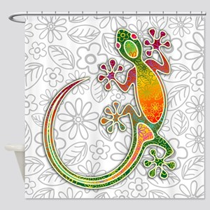 Gecko Floral Tribal Art Shower Curtain