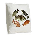 5 Grouper Burlap Throw Pillow