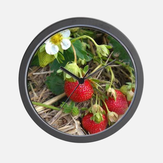 Strawberries in Summer Wall Clock